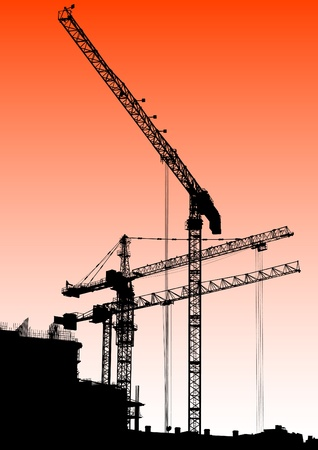 image of construction cranes and buildings Stock Vector - 11137820