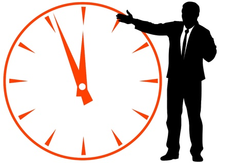 image of businessmen in background of clock Stock Vector - 11137806
