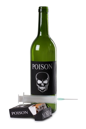 Color photo of a pack of cigarettes and a bottle of wine photo