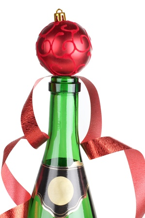 Color photo of a champagne bottle and ball photo