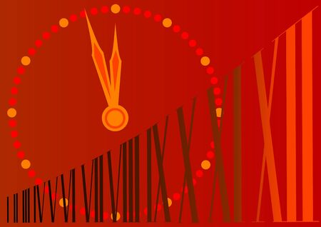 drawing large clock of new year Vector