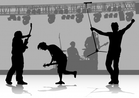 drawing one man singing with a microphone and guitarist Vector