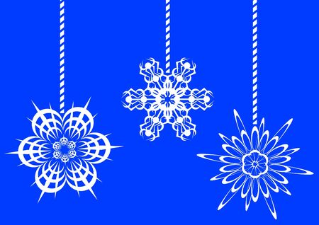 image of white snowflakes on a blue background Stock Vector - 11440463
