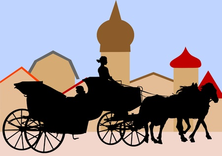 carriages with horses Vector