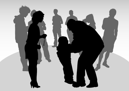 parents and children. Silhouettes of people Vector