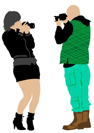 young photographers with equipment at work Vector