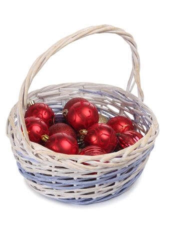 Color photo of ball in wooden wicker basket photo