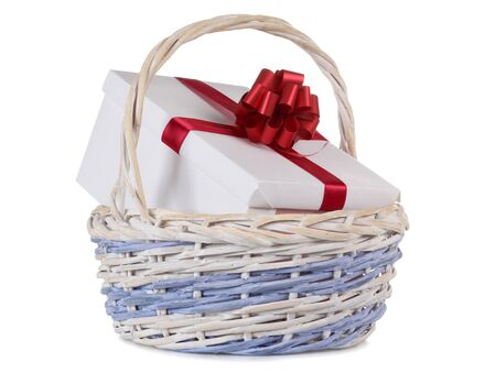 Color photo of a box in wooden wicker basket photo