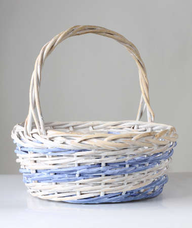 easter basket: Color photo of a wooden wicker basket Stock Photo