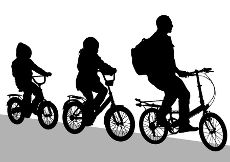 people travelling: silhouette of a cyclist family