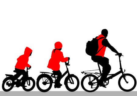 silhouette of a cyclist family Vector