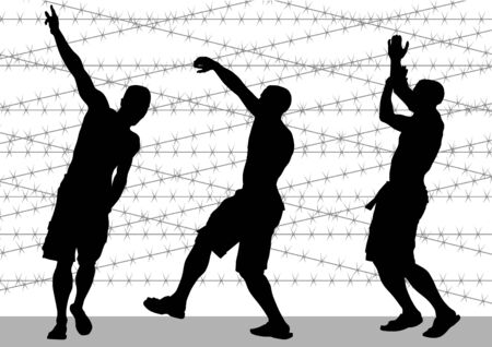 hoodlum: a man on backdrop of barbed wire Illustration