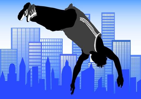 parkour: saltar y escalar los hombres. Siluetas atletas