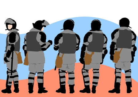 Vector image of police in form of protective Stock Vector - 11663569