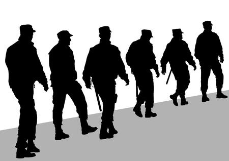 guard: Vector image of police in form of protective Illustration