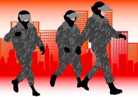 Vector image of police in form of protective Vector