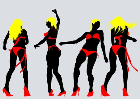Vector drawing slim and beautiful girls in bikini Vector