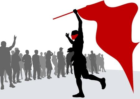 revolucionario: Multitud de dibujo vectorial y la bandera la revoluci�n