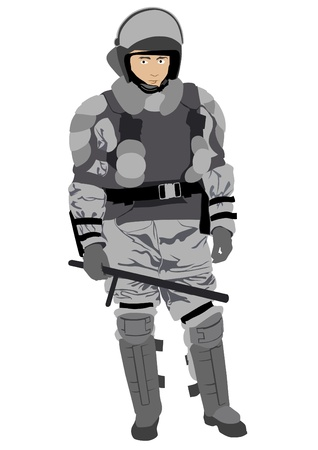Vector image of police in form of protective Illustration