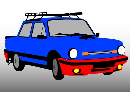 small car: Vector image of old small car