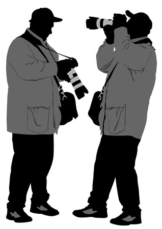 Vector image of young photographers with equipment at work Stock Vector - 11813858
