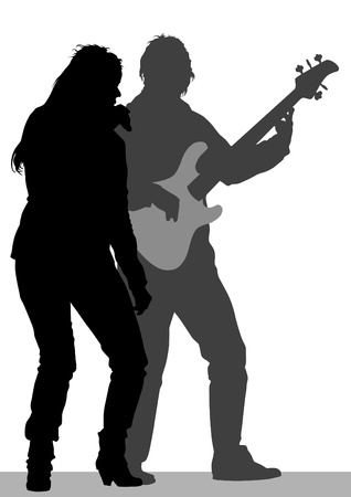 Vector image of singer and guitarist on stage Vector