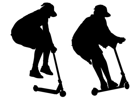 scooter: Vector image of young men on scooters