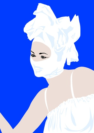 Vector image of young woman in carnival mask Vector