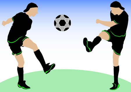 Vector image of football players and ball Vector