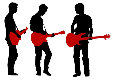 Vector drawing young man and guitarist Vector