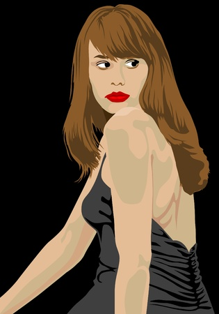 Vector drawing beautiful girl in fashionable clothes Vector
