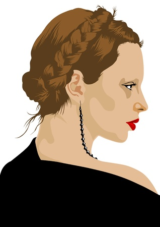 Vector drawing of a girl with a braid of hair Vector
