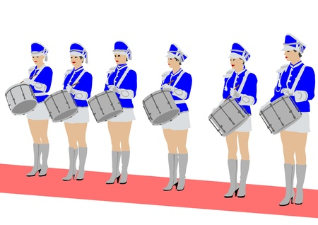 parade: Vector image of young girls with drums