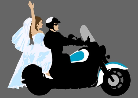 drawing a big motorcycle and bride Vector
