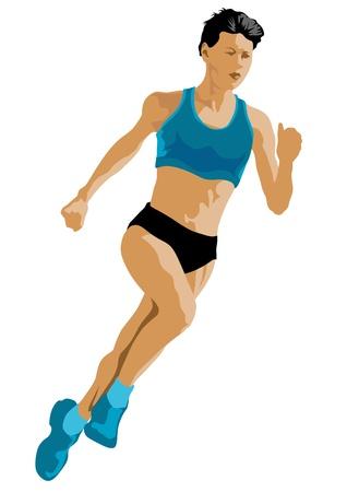 ベクトル描画競争の女性の間で実行  イラスト・ベクター素材