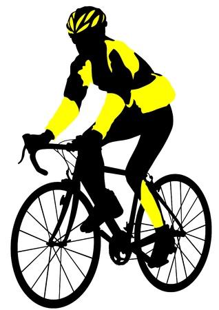 Vector tekening silhouet van een fietser jongen Vector Illustratie