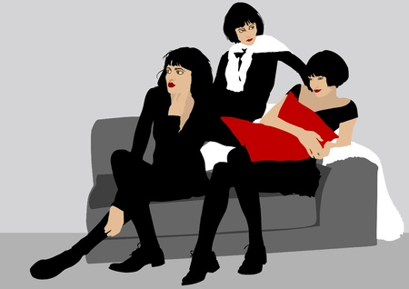 Vector drawing beautiful girls on sofa Vector