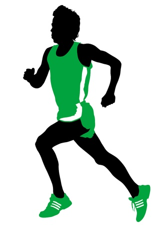 ropa deportiva: La competencia de dibujo vectorial correr entre el hombre Vectores