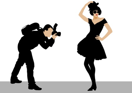 studio photo: Vector image of people with cameras and model