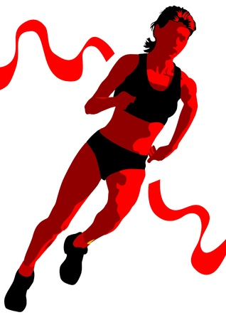 aerobic training: Vector drawing competition run among women