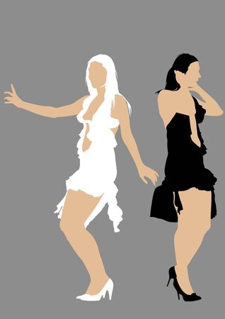 Vector drawing beautiful girl in dress Vector