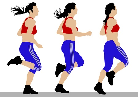 activity exercising: Vector drawing competition run among women