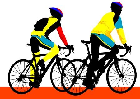 Vector tekening silhouet van een fietser jongen
