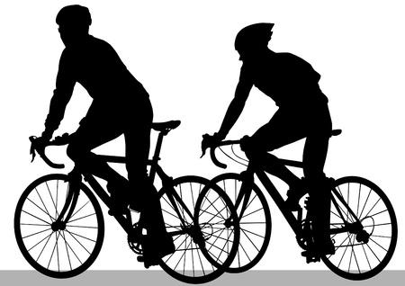 Vector tekening silhouet van een fietser jongen Stockfoto - 12051666