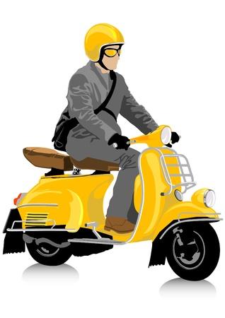 motorizado: De dibujo vectorial de un turista en el pequeño scooter