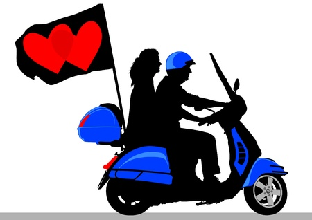 Vector drawing rider on scooter with flag Vector