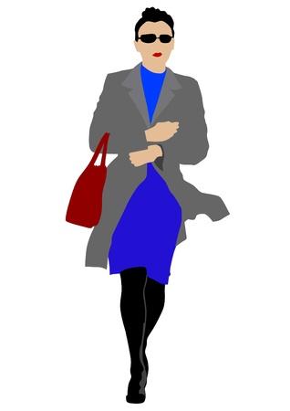 raincoat: Vector drawing beautiful woman in raincoat Illustration