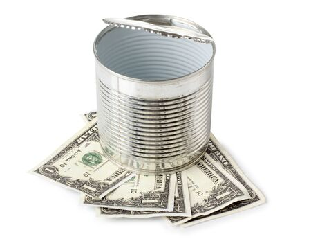Color photograph of metal cans and paper money Stock Photo - 12189353