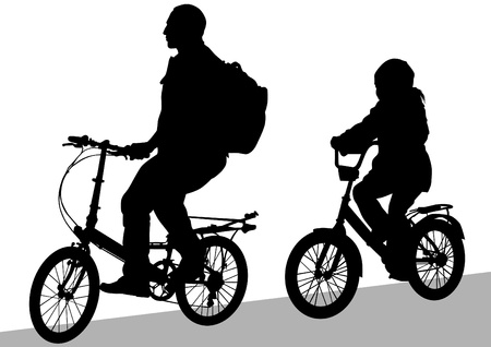 Vector drawing silhouette of a cyclist family Vector