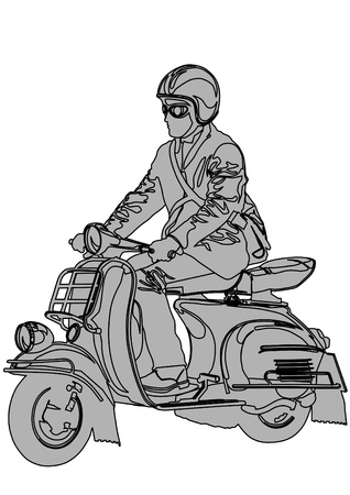 Vector image of young men on scooters Vector